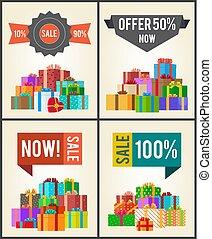 winkel, tien, aanbod, prijs, verkoop, dozen, helft, 90, nu, best