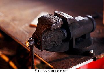 winkel, tools., oud, smid, vise, smeden