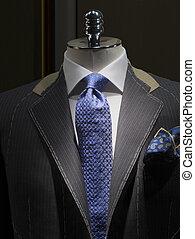 winkel, (vertical), kleermaker, jas, onafgewerkt