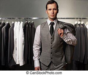 winkel, vest, classieke, tegen, kostuums, zakenman, roeien