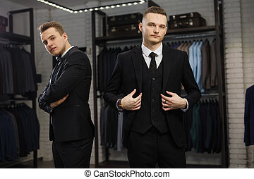 winkel, vest, vrolijk, classieke, twee, tegen, kostuums, vrienden, roeien