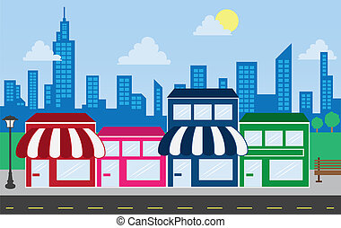 winkel, voorkanten, en, skyline, gebouwen
