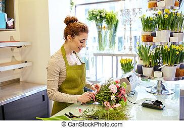 winkel, vrouw, bloem, bloemist, vervaardiging, het ...