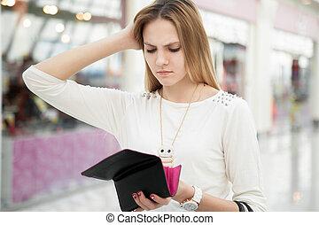 winkel, vrouw, haar, controleren, na, buidel, verward,...