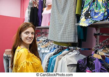 winkel, vrouw, kleren