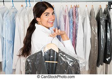 winkel, vrouw, kostuum