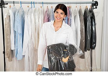 winkel, vrouwenholding, kostuum