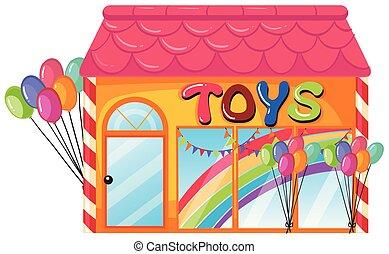 winkel, witte achtergrond, speelgoed