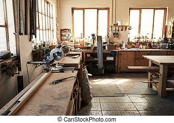 winkel, woodworking, assortiment, werkbanken, gereedschap