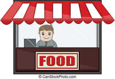 winkel, zakelijk, voedingsmiddelen, -, vector, spotprent