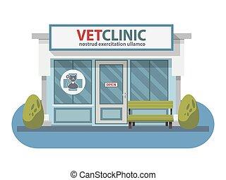 winkel, ziekenhuis, aanhalen, veeartsenijkundig, animals.,...