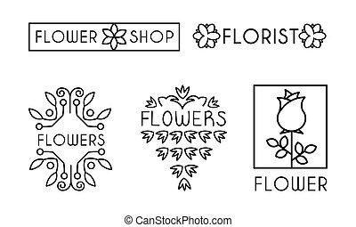 winkel, zijn, salon, bloem, identiteit, set, het brandmerken, illustratie, gebruikt, vector, ontwerp, groenteblik, achtergrond, bloemist, logo, witte , communie