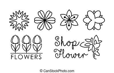 winkel, zijn, salon, communie, lineair, identiteit, set, het brandmerken, vector, gebruikt, floral, bloem, ontwerp, illustratie, achtergrond, bloemist, logo, witte , groenteblik