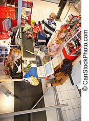winkelbediende, met, klant