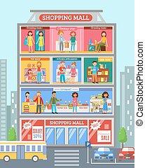 winkelcentrum, spandoek, desingn, plat