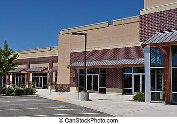 winkelcentrum, strookwandelgalerij, partij, parkeren