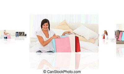 winkelende mensen, montage, ontspannen, hun, gedaan, thuis,...