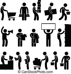 winkelende mensen, verkoop, kar, rij, man