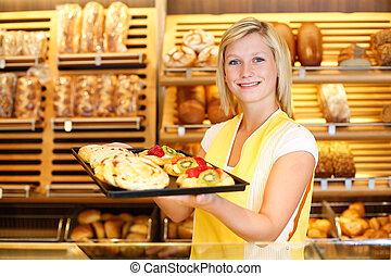 winkelier, winkel, volle, tablet, bakker, taart