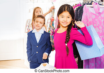 winkeltas, aziatisch meisje, vrienden, winkel