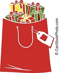 winkeltas, de giften van kerstmis, illustratie