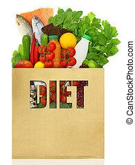 winkeltas, gevulde, met, dieet, voedsel