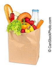 winkeltas, gevulde, met, voedingsmiddelen