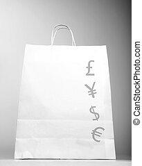 winkeltas, met, geld, meldingsbord