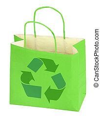 winkeltas, met, recycleren symbool