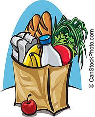 winkeltas, met, voedingsmiddelen