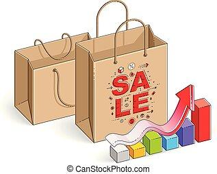winkeltas, met, wasdom diagram, groot, verkoop, sellout, detailhandel, black , vrijdag, korting, eco, buil, vrijstaand, op wit, achtergrond., isometric, vector, illustratie, 3d, dune lijn, design.