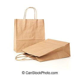 winkeltas, papier, papier, gerecyclde, ambacht, achtergrond, witte , lege