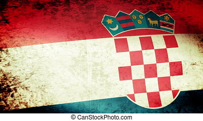 winkende , fahne, grunge, kroatisch