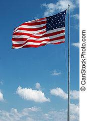 winkende , groß, fahne, amerikanische , wind