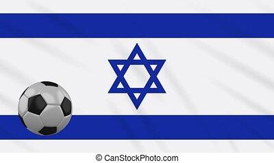 winkende , israel, fußball, rotiert, fahne, schleife