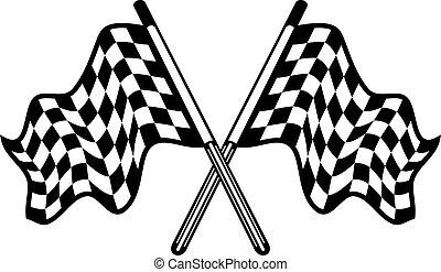 winkende , paar, checkered, gekreuzt, flaggen
