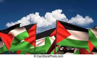 winkende , palästinensisch, flaggen