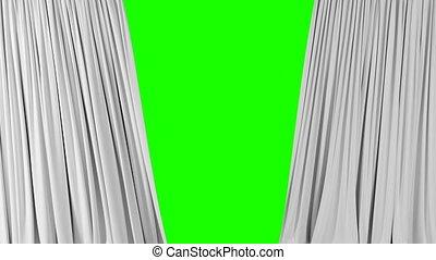 winkende , weißes, screen., schöne , alpha, abstrakt, 3d, aufdecken, öffnung, tuch, 3840x2160, schließen, hintergrund, hd, grün, seide, matte., 4k, animation, ultra, vorhänge