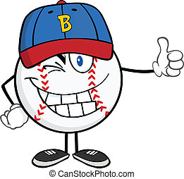 Winking Baseball Ball Cartoon Character Holding A Thumb Up...