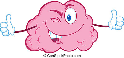 Winking Brain Giving A Thumb Up