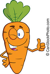 Winking Carrot Character - Winking Carrot Cartoon Character...