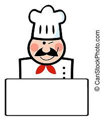 Winking Caucasian Chef Banner