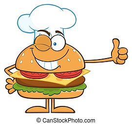 Winking Chef Hamburger Cartoon Character Showing Thumbs Up