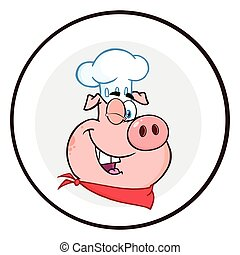 Winking Chef Pig Cartoon Mascot Character Circle Banner....