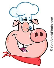 Winking Chef Pig Cartoon Mascot Character.