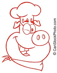 Winking Chef Pig Cartoon Mascot Character In Red Color