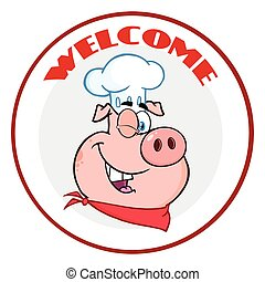 Winking Chef Pig Cartoon Mascot Character Circle Banner With Text Welcome