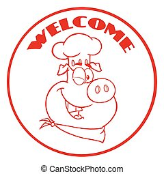 Winking Chef Pig Cartoon Mascot Character Red Circle Banner With Text Welcome