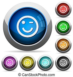 Winking emoticon button set