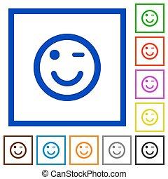 Winking emoticon framed flat icons